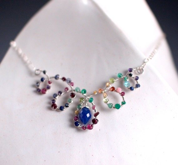 sterling silver gemstone collar necklace with adjustable chain