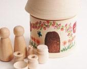 SALE SALE SALE ake n Go Doll House Pretend Play Toy Set- Natural Wood -Montessori- Peg Doll