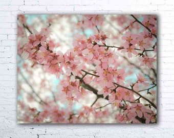 pink cherry blossom print - flower photography - floral wall art - cherry blossoms
