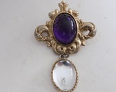 Vintage brooch, Art Nouveau style purple and clear cabochon drop brooch, retro jewelry
