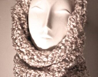 Oatmeal Cream Neutral hood cowl infinity scarf