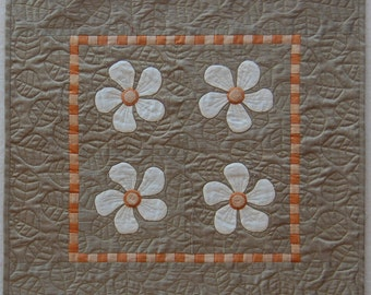 Silk Flowers Hand Appliqued Quilted Wall Hanging