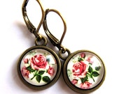 Pink Rose Earrings Glass And Brass Retro Flower Fashion Jewelry