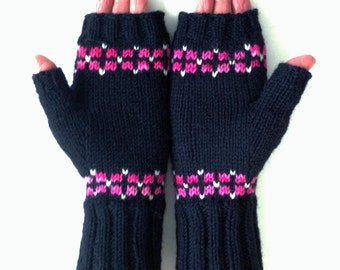 Black Fingerless Mittens Texting Gloves with Bright Pink White Hand Knit