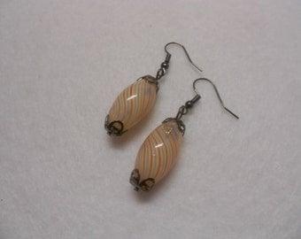 Hand Blown Glass Earrings, Orange Swirl Earrings