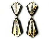 TUX Statement Earrings - Black earrings, gold earrings, rhinestone earrings, Art Deco earrings, Modern earrings