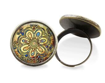 Flower Ring Glass Tile Ring Glass Ring Flower Jewelry Brass Jewelry Brass Ring Adjustable Ring Glass Tile Jewelry Glass Ring