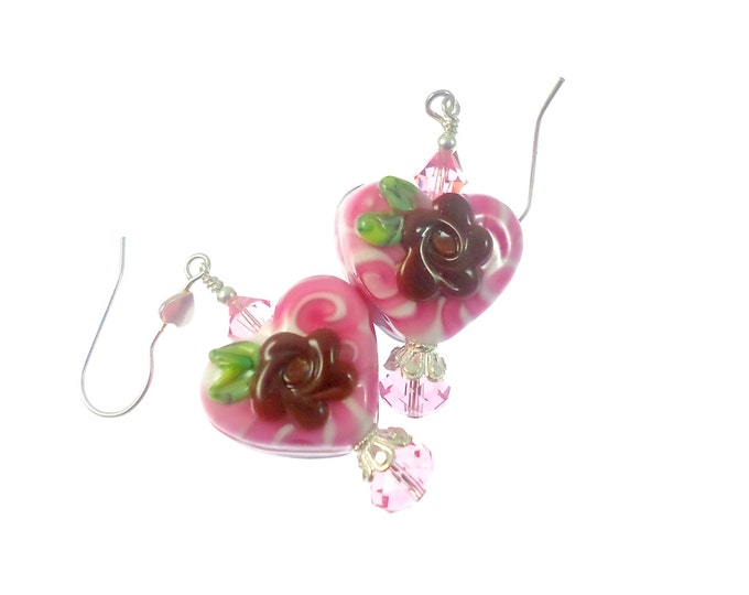 Featured listing image: Floral Heart Lampwork Earrings, Chocolate Glass Bead Earrings, Valentine Beadwork Earrings, Glass Bead Jewelry, Lampwork Jewelry