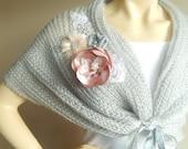 Grey Bridal Capelet / Wedding Wrap Shrug Bolero/Hand Knit Mohair Shawl with Brooch