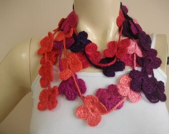 Crochet scarf-Coral, Purple,Hotpink,Red Lariat Necklace Scarf-Flower Scarf