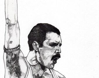 Freddie Mercury 2  - Original Signed Paul Nelson-Esch Drawing Art pencil Illustration portraiture 80s Queen retro unique decor home Free S&h