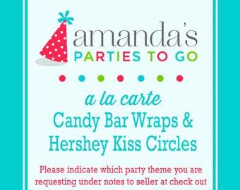 Candy Bar Wraps   (Printable) A la Carte Party Single   Amanda's Parties To Go