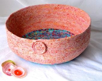 Peach Cat Bed, Handmade Coral Batik Basket, Modern Apricot Pet Bed, Peach and Teal Batik Fabric Basket, Dog Bed