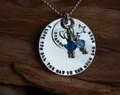 I Love you all the way to the moon and back - Sterling Silver Necklace - Personalized with Birthstones - Mommy Necklace, Quotes, Kids Names