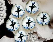 NEW 12mm 20mm 25mm 30mm( 25mm Flat )Handmade Photo Glass Cabochon -Image Glass Cabochon-Ballet Girl-(HPGC-183-22)