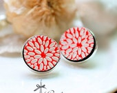 20% off -NEW Unique 3D Embossed  Flower  16mm Round Handmade Wood Cut Cabochon to make Rings, Earrings,  ,Necklaces, Bracelets-(WG-100)