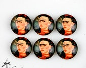 10PCS 12mm 20mm 25mm 30mm ( 25mm Flat )Handmade Photo Glass Cabochon -Image Glass Cabochon- FRIDA KAHLO- (HPGC-155-6)