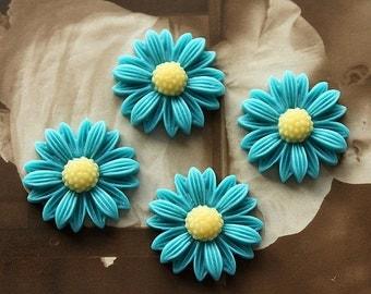 10pcs Beautiful Mix Colorful Daisy Flower Resin Cabochon - -22mm(CAB-BU -14)