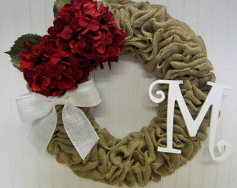 Handmade Burlap Wreath with Red Hydrangeas, White Burlap Bow and White Monogram