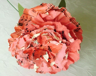 hymnal sheet music book page paper carnation recycled alternative paper flower