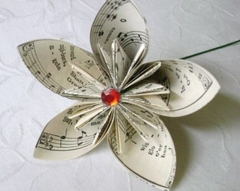 origami paper folded kusudama recycled sheet music hymnal book page paper flower lily alternative
