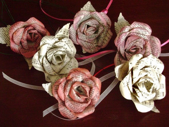Mixed bouquet of paper roses recycled bible and sheet music for Paper roses sheet music free