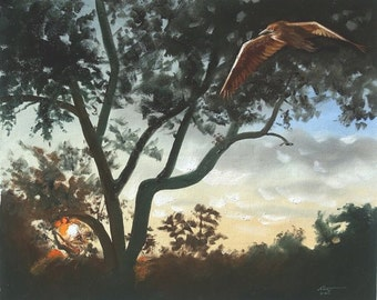 Night Heron 20x24 oil on canvas painting by RUSTY RUST / H-76