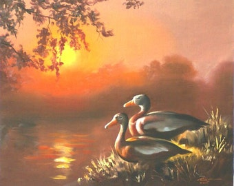 Black-Bellied Whistling Ducks 20x24 wildlife oil painting by RUSTY RUST / D-109