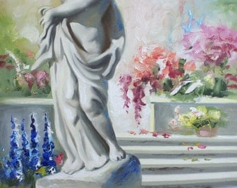 Garden Statue by RUSTY RUST 36x24 oils on canvas painting / M-366