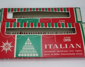Vintage Christmas Light Strand Red Italian Miniature Twinkle Fairy Lights Original Box NOS 2 Boxes Christmas Holiday Tree Decor Display