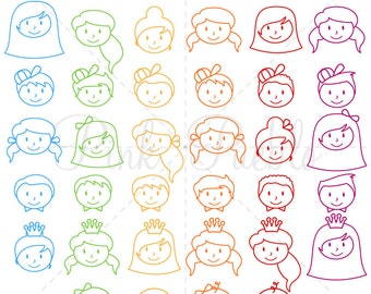 Stick Figure Heads Photoshop Brushes, Stick Family Heads Brushes - Commercial and Personal Use