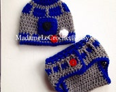 Newborn/0-3 Months R2D2 Crochet Hat and Diaper Cover Set