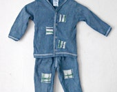 12 Month Baby Set, denim blue Pants and Shirt, Hand Dyed Cotton