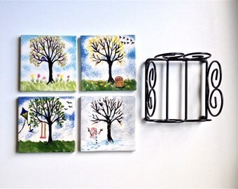 Tile Coasters Drink Coasters Four Seasons Tree Coasters with Stand Set of Four