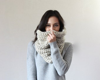 Large Chunky Cowl Thermal Textured Scarf Shawl Hood, snood infinity scarf // The Chartres - OATMEAL