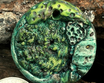 Polymer Clay Handmade Pendant - abstract design in antique green and turquoise