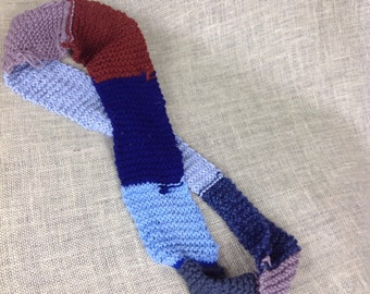 Skinny infinity scarf in blues and brown