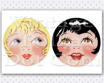 Cip Art Doll Face 1920's Digital Graphic Doll Making Supply Instant Download Blond Girl and Black Hair Bob Roaring 20's