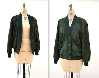 Vintage Suede Cardigan Jacket in Dark Olive green// Vintage Leather Jacket Cardigan Size Medium Large