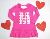 Girls Valentines Dress Heart Applique Personalized Letter or Number Pink Red White 12m 18m 3 4 5 6 6x Toddler Initial Tunic Long Sleeve