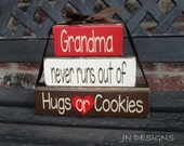 "Grandma/mothers day""CHUNKY"" stacker wood blocks--Grandma never runs out of Hugs or Cookies"