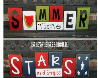 SALE--Reversible Summer & 4th of July blocks- Summer time reverses with Stars and Stripes