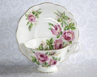 Vintage Royal Albert Tea Cup and Saucer, Pink Cabbage Rose Tea Cup Teacup, Vintage English China, Pink Floral Tea set, Gifts For Her