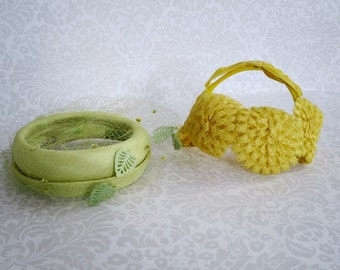 Vintage Veiled Pillbox and Headband Hats, Pair 50s Yellow & Lime Green Hats, Vintage Headware Hats Weddings Photo Prop Costume Display