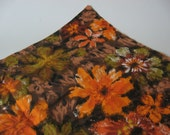 Orange brown gold green floral painting cotton sheeting looks like barkcloth vintage fabric material