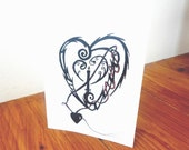 Illustrated and unique card - Light my heart up