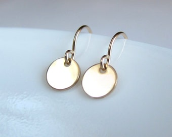Tiny dot gold disk earrings. Coin drop earrings, circle earrings in gold filled. Sale!