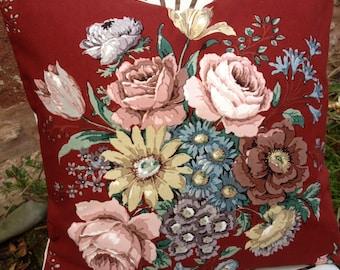 """BOUQUET Vintage Sanderson Cotton Fabric Cushion COVER Wytham Floral Flowers 16"""""""