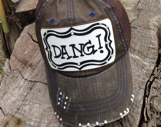 DANG Patch Southern Women's Trucker Hat, Embellished Baseball Caps, Texas Hat for Women, Custom Bling Girls Southern Bling, Personalized