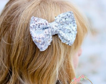 Silver Hair Bow_CHOOSE COLOR_Hair Bows,Baby Hair Clips,Red Hair Bow,Sequined Gold Hair Bow, Girls Hair Bows- Hair Bows, Clippies,hairbows.